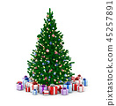 Decorated Christmas tree and gift boxes 45257891