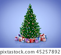 Decorated Christmas tree and gift boxes 45257892