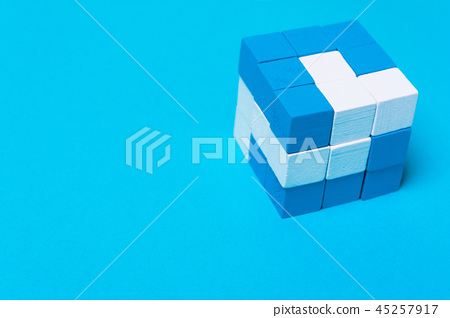 Geometric cube of blue and white parts.  45257917