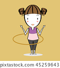 Cartoon illustration girl twirling hula hoop 45259643