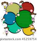 sports girls cartoon and frame text vector illustr 45259754