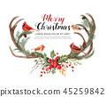 Watercolor antler reindeer with birds christmas. 45259842