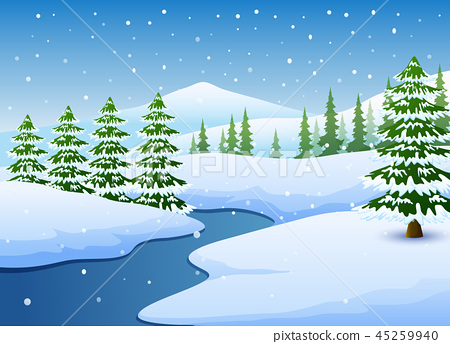 Winter landscape with frozen lake and fir trees 45259940