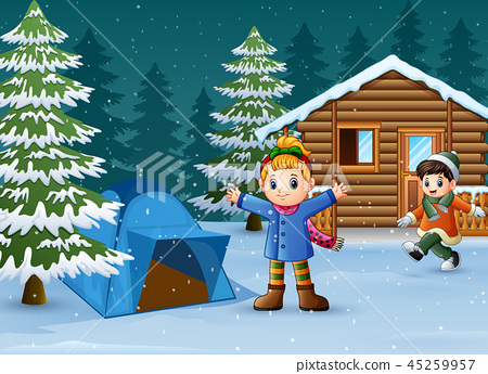 Happy kids to wear winter clothes and play 45259957