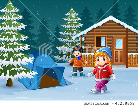Happy kids to wear winter clothes and play 45259958