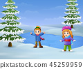 Happy kids playing in the with frozen lake  45259959