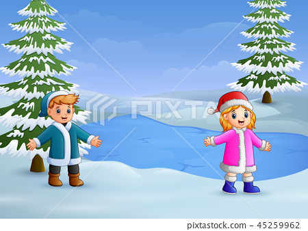 Happy kids playing in the with frozen lake  45259962