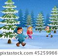 冬天 冬 小孩 45259966
