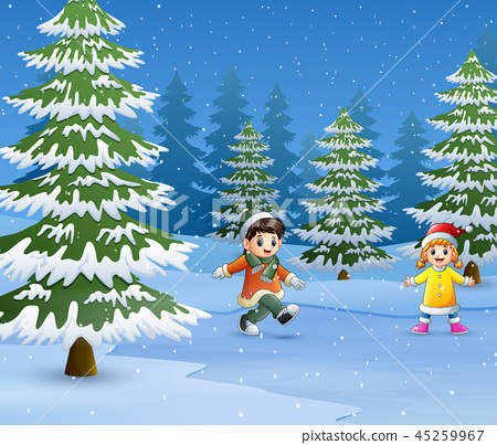 Happy kids wear winter clothes and play outdoors 45259967