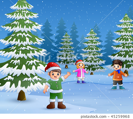 Happy kids wear winter clothes and play outdoors 45259968