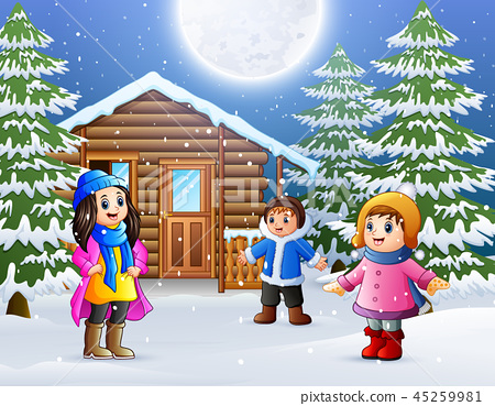 Happy kids wear winter clothes and play  45259981