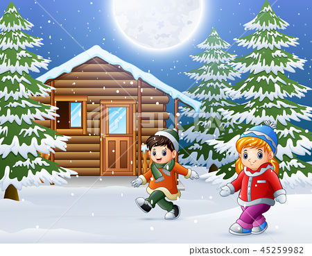 Happy kids wear winter clothes and play  45259982