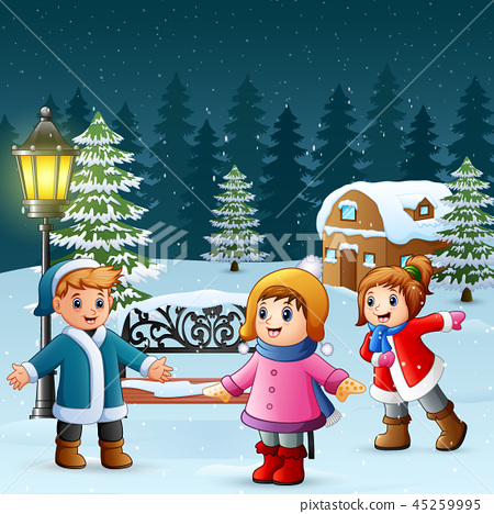 Happy kids play in winter background 45259995