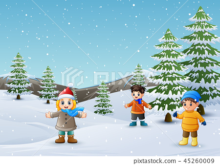 Happy kids playing in winter landscape 45260009