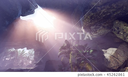 Sun Light inside Mysterious Cave 45262861