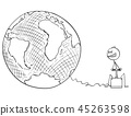 Cartoon of Man or Businessman Trying to Destroy Earth or World by Explosive 45263598