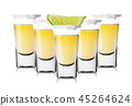 Five glasses of golden tequila with salt and lime 45264624
