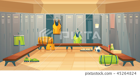 changing room with lockers for sports 45264824