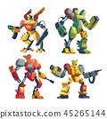 Vector cartoon robot guards, futuristic battle androids 45265144