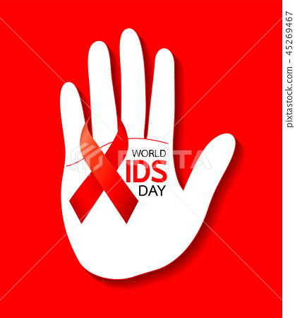 World AIDS Day. hand with Red ribbon. 45269467