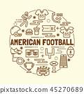american football minimal thin line icons set 45270689