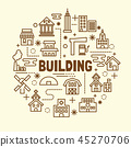 building minimal thin line icons set 45270706