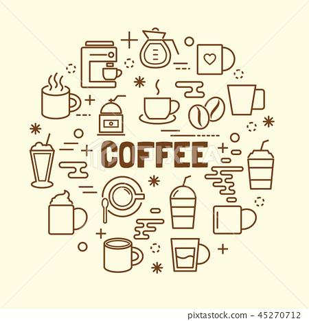 coffee minimal thin line icons set 45270712