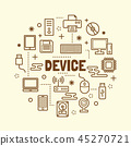 device minimal thin line icons set 45270721