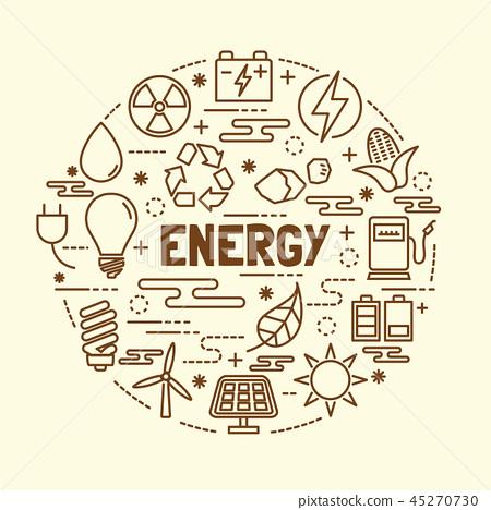 energy minimal thin line icons set 45270730