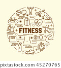 fitness minimal thin line icons set 45270765