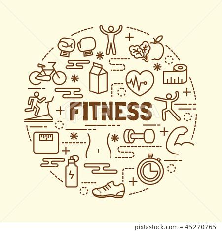 fitness minimal thin line icons set 45270765