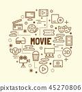 movie minimal thin line icons set 45270806