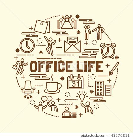 office life minimal thin line icons set 45270811