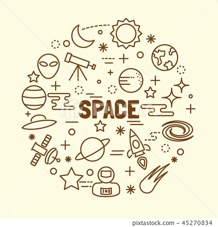 space minimal thin line icons set 45270834