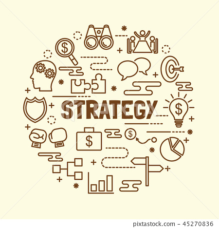 strategy minimal thin line icons set 45270836