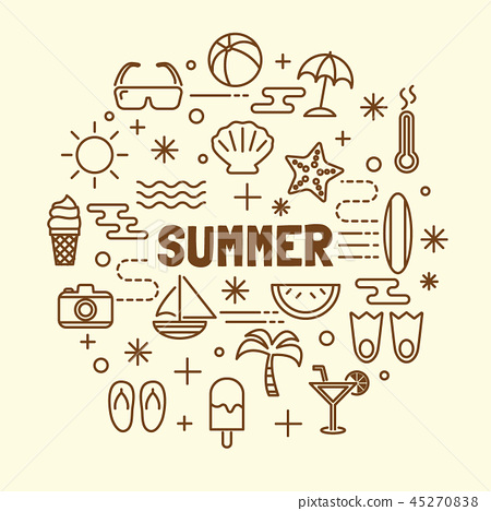 summer minimal thin line icons set 45270838
