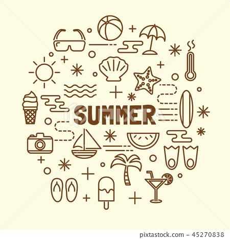 summer minimal thin line icons set 45270838