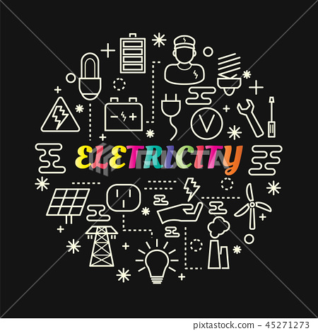 electricity colorful gradient with line icons set 45271273