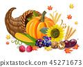 Fall harvest Vector realistic. Pumpkin 45271673