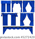 Set of blue luxury curtains and draperies 45272420