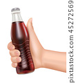 Hand hold bottle of cola on white background 45272569