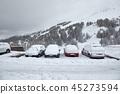 Winter snowy parking 45273594