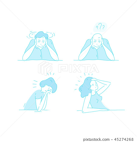 Sick stressed dizzy person Vector hand drawn illustration 45274268