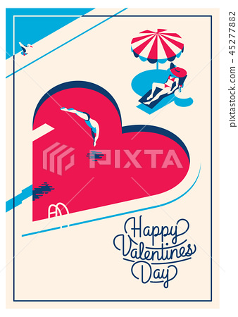 cute romantic card for valentine's day, vector illustration 45277882