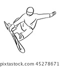 Snowboarder jumping in the air vector illustration 45278671