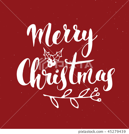 Merry Christmas Calligraphic Lettering Vector  45279439