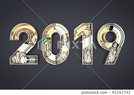 New year 2019 made from mechanical alphabet  45292742