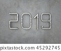New year 2019 on concrete wall 45292745