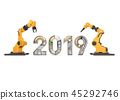 New year 2019 made from mechanical alphabet  45292746