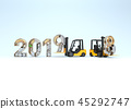 New year 2019 made from mechanical alphabet  45292747